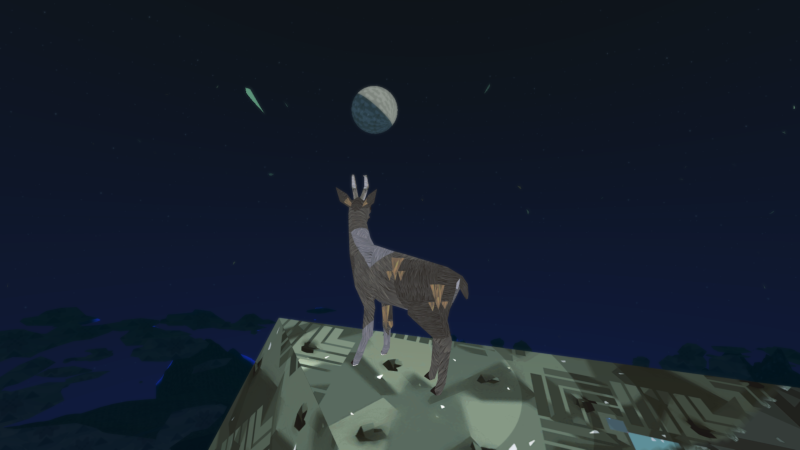 A goat on top of a mountain at night, watching the moon
