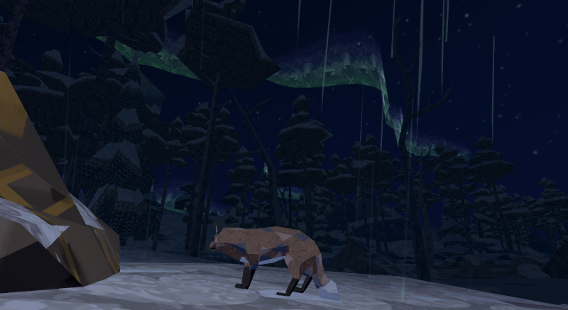 A fox watches the aurora